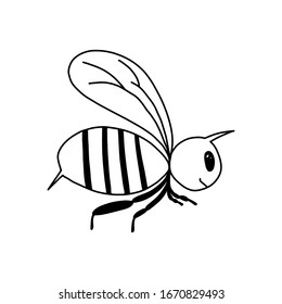 A single bee in the style of Doodle.Black - and-white image of an insect.Contour drawing of a cute bee.Children's drawing.Vector image