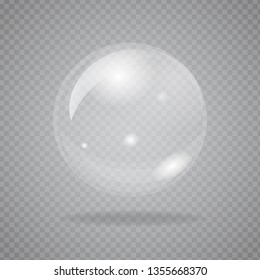 Single Big transparent soap bubble isolated on background. High detailed vector illustration.