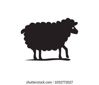 Single black sheep simple illustration
