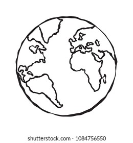 Single black sketch of earth globe illustration. Planet Earth isolated on white sketch doodle. Vector.