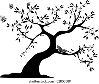 a single black tree with three butterflies on a white background