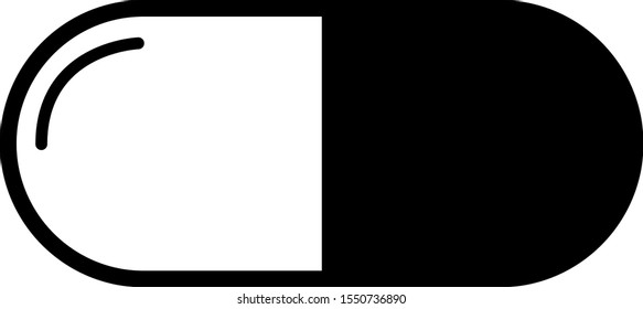 Single, single black and white capsule pill. Vector isolated on white background.