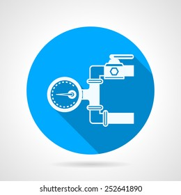 Single blue flat vector icon with white silhouette hydraulic pressure gauge for underfloor heating on gray background with long shadow.