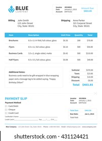 Single Blue Invoice
