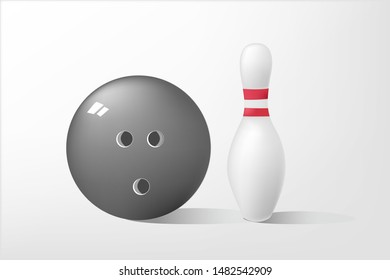 Single bowling pin and ball on white background, vector illustration