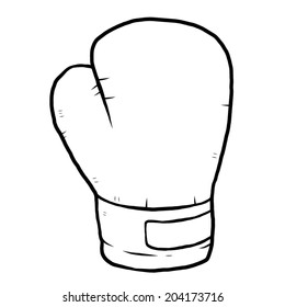 single boxing glove / cartoon vector and illustration, black and white, hand drawn, sketch style, isolated on white background.