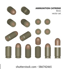 Single bullet. 9 mm bullet on a white background. AMMUNITION. Vector illustration. Design element. The three-dimensional object from different angles.