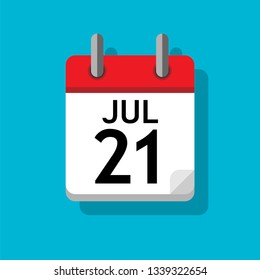 A single calendar page of month July. Flat on blue background.