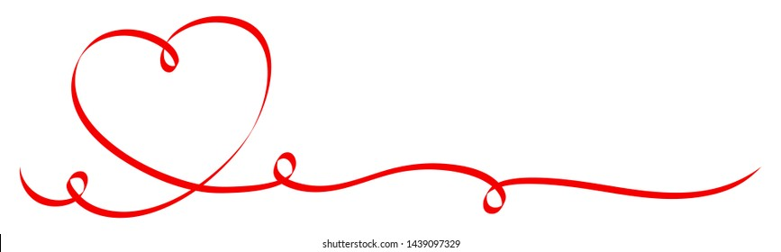 Single Calligraphy Red Heart With Three Swirls Ribbon