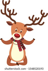 Single character of reindeer on white background illustration