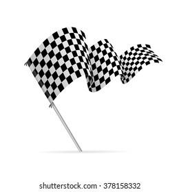 Single Checkered Racing Flag Avto. Vector illustration