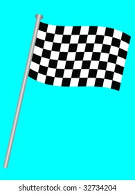 Single chequered flag for the winner on a blue background