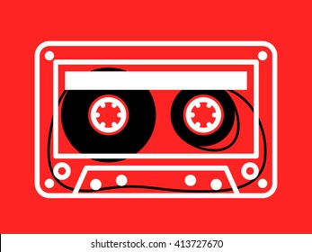 Single clear white outlined cassette vector with loose recording tape on spindles over red background
