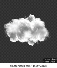 Single cloud vector illustration. Realistic white fluffy cloud isolated over transparent background. Vector resizable cloud shape