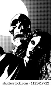 A single color vector illustration of a beautiful  woman with  a screaming skull  standing behind her.  Classic comic book style,  single color,  11x17  aspect ratio.