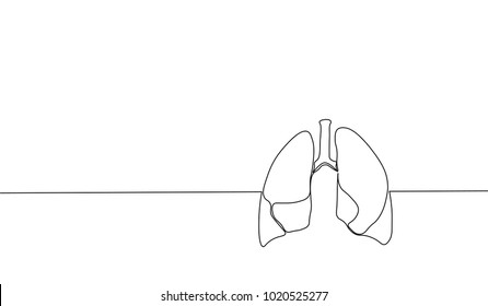 Single continuous line art anatomical human lungs silhouette. Healthy medicine against smoking concept design world no tobacco day tuberculosis one sketch outline drawing vector illustration