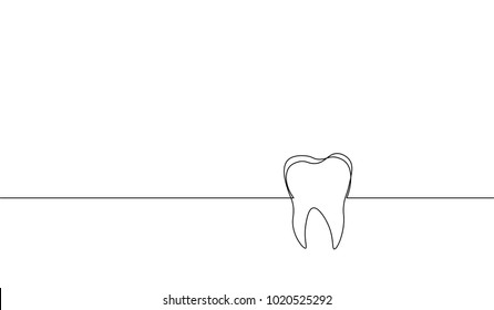 Single continuous line art anatomical human tooth silhouette. Healthy medicine against molar enamel root cavity concept design world oral health day one sketch outline drawing vector illustration