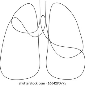 Single continuous line art anatomical human lungs silhouette. Healthy medicine against smoking concept design world no tobacco day tuberculosis one sketch outline drawing. Vector illustration