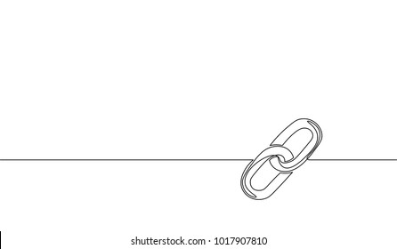 Single continuous line art blockchain link silhouette. Hyperlink sigh modern international communication security banking technology concept design one sketch outline drawing vector illustration
