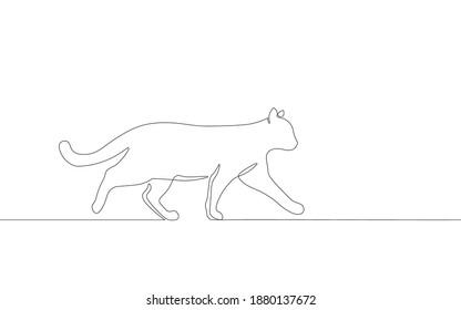 Single continuous line art cat going. Domestic cute pet feline animal concept design. Vet pet clinic meal concept. One sketch outline drawing vector illustration