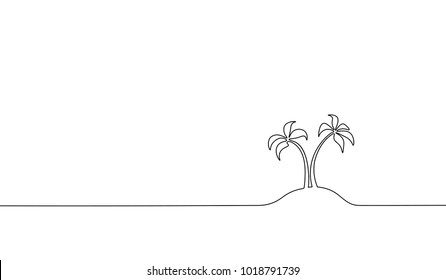 Single continuous line art coconut tree palm. Tropic paradise island landscape design one sketch outline drawing vector illustration
