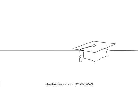 Single continuous line art graduation cap. Celebration ceremony master degree academy graduate design one sketch outline drawing vector illustration art