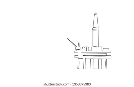 Single continuous line art ocean oil rig. Finance economy petrol production. Petroleum fuel industry offshore extraction derricks one sketch outline drawing vector illustration
