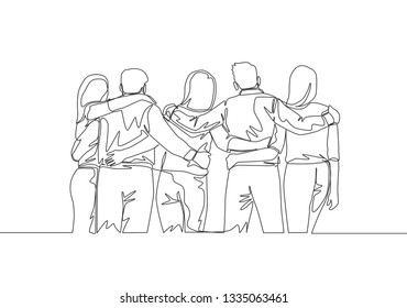 Single continuous line drawing about group of men and woman from multi ethnic standing together to show their unity bonding. Friendship concept one line draw design illustration