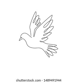 Single continuous line drawing of adorable flying dove bird for logo identity. Pigeon mascot concept for freedom and peace movement icon. One line draw design vector illustration