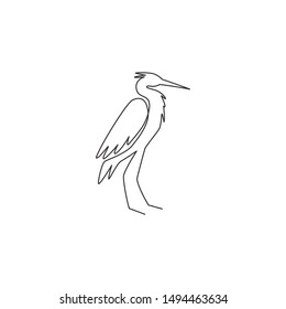 Single continuous line drawing of adorable standing heron for company logo identity. Long beak bird mascot concept for national conservation park icon. Modern one line draw design vector illustration