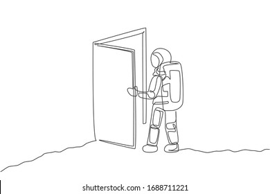 Single continuous line drawing of astronaut entering open door gate into new dimension in moon surface. Cosmonaut outer space concept. Trendy one line draw design vector illustration graphic