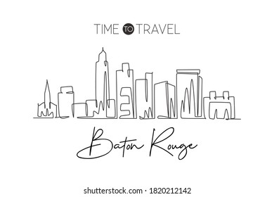 Single continuous line drawing of Baton Rouge city skyline, Louisiana. Famous scraper landscape. World travel home wall decor art poster print concept. Modern one line draw design vector illustration