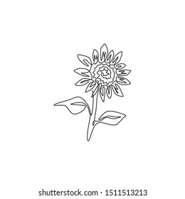 Single continuous line drawing of beauty fresh sunflower for park logo identity. Decorative helianthus spring flower concept for textile fashion. Modern one line draw design vector illustration