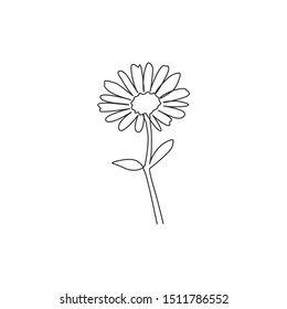 Single continuous line drawing of beauty fresh bruisewort for garden logo. Printable decorative common daisy flower concept for textile fashion fabric. Modern one line draw design vector illustration
