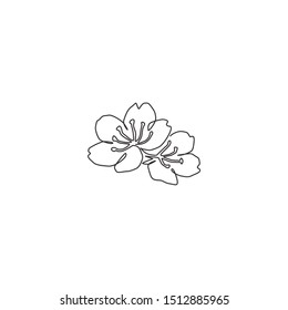 Single continuous line drawing of beauty fresh cherry blossom for garden logo. Printable decorative sakura flower concept for wedding invitation card. Trendy one line draw design vector illustration