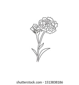 Single continuous line drawing of beauty fresh carnation for garden logo. Decorative dianthus caryophyllus flower concept for fashion fabric textile. Modern one line draw design vector illustration