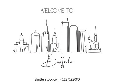 Single continuous line drawing of Buffalo city skyline, USA. Famous city scraper and landscape. World travel concept home wall decor poster print art. Modern one line draw design vector illustration
