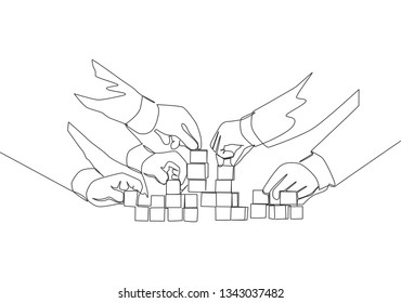 Single continuous line drawing of business team member arrange wooden cube block become sturdy tower. Teamwork concept one line draw design illustration