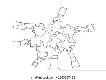 Single continuous line drawing of business team members unite puzzle pieces together to one. Teamwork concept one line draw design illustration