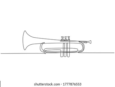 Single continuous line drawing of classical trumpet. Wind music instruments concept. Trendy one line draw design vector graphic illustration