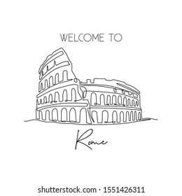 Single continuous line drawing Colosseum amphitheater. Iconic landmark place in Rome, Italy. World travel home decor wall art poster print concept. Modern one line draw design vector illustration