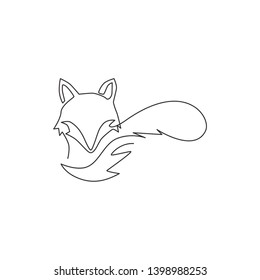 Single continuous line drawing of cute fox corporate logo identity. Mammals zoo animal icon concept. One line draw design illustration