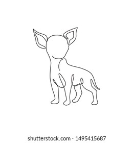Single continuous line drawing of cute chihuahua dog for company logo identity. Purebred dog mascot concept for pedigree friendly pet icon. Modern one line draw design graphic vector illustration