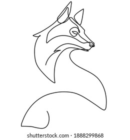 Single continuous line drawing of cute fox corporate logo identity. Mammals zoo animal icon concept. Modern one line graphic vector draw design illustration