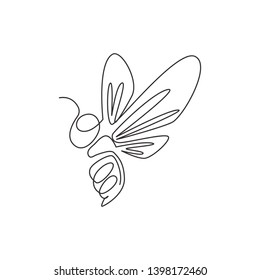 Single continuous line drawing of decorative bee for farm logo identity. Honeycomb producer icon concept from animal shape. One line draw design illustration