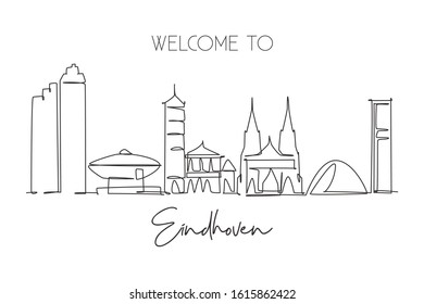 Single continuous line drawing of Eindhoven city skyline, Netherlands. Famous skyscraper and landscape postcard. World travel wall decor poster concept. Modern one line draw design vector illustration