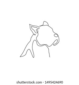 Single continuous line drawing of fierce boxer dog head for security company logo identity. Purebred dog mascot concept for pedigree friendly pet icon. Modern one line draw design vector illustration