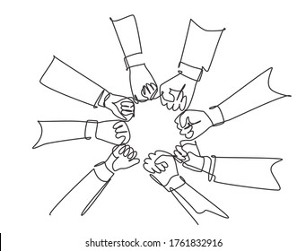 Single continuous line drawing group of young business people unite their hands together to form a circle shape as a unity symbol. Teamwork concept one line draw graphic design vector illustration