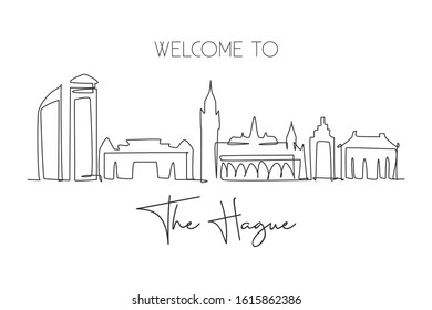 Single continuous line drawing of The Hague city skyline, Netherlands. Famous city skyscraper and landscape in the world. World travel concept. Editable modern one line draw design vector illustration