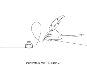 Single continuous line drawing of hand writing gesture with ink and quill pen. Retro handwriting concept one line draw design illustration